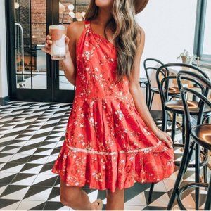 Free People All Mine Mini Floral Linen Blend Dress
